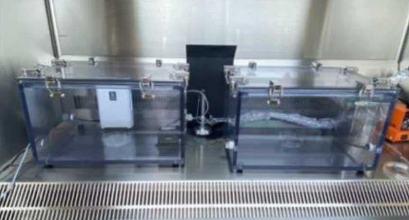 Equipo usado en la investigación de la inactivación del covid-19 con ozono