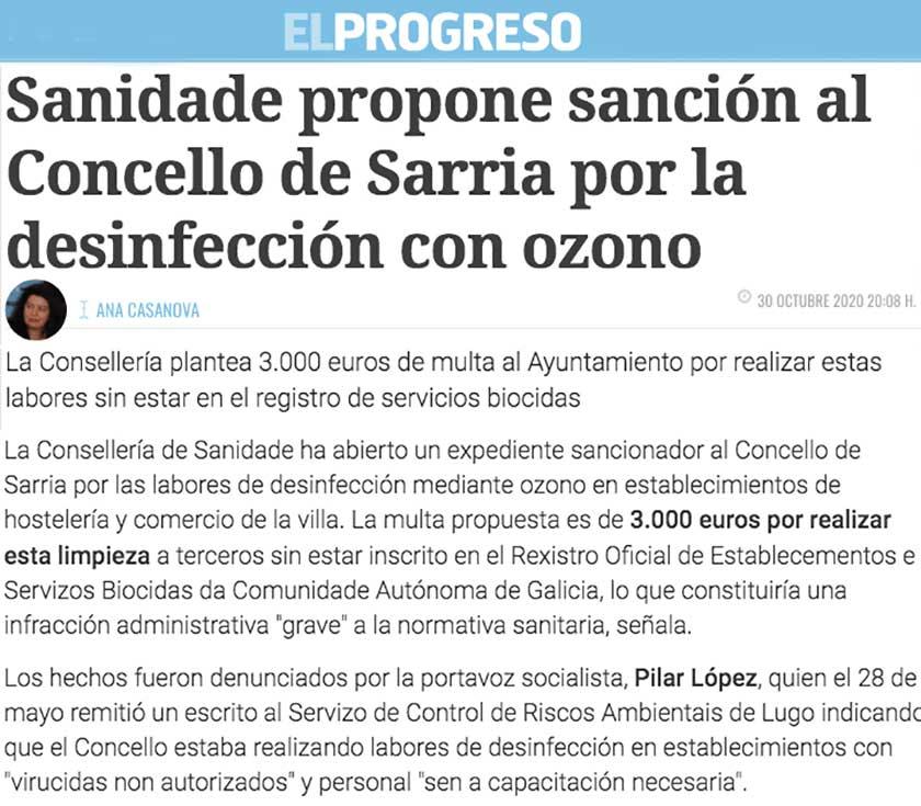 Sanidade propone sanción al Concello de Sarria por la desinfección con ozono