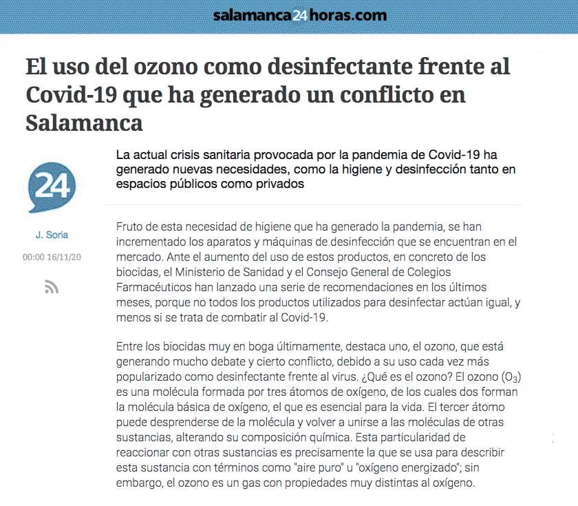 El uso del ozono como desinfectante frente al Covid-19 que ha generado un conflicto en Salamanca